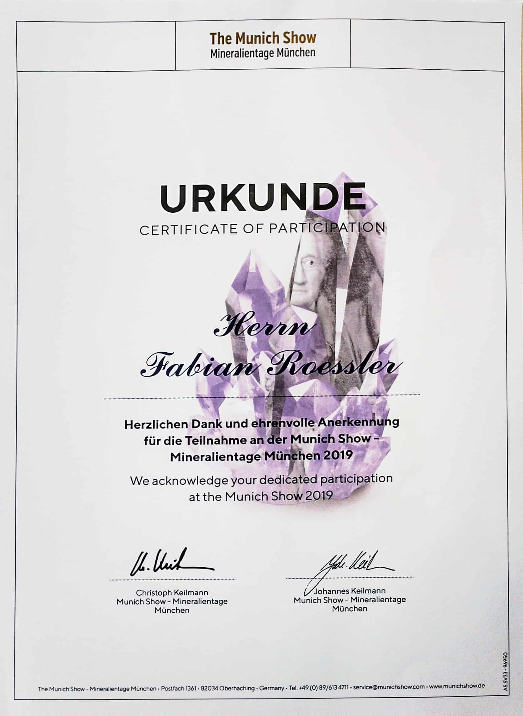 Urkunde Mineralientage 2019